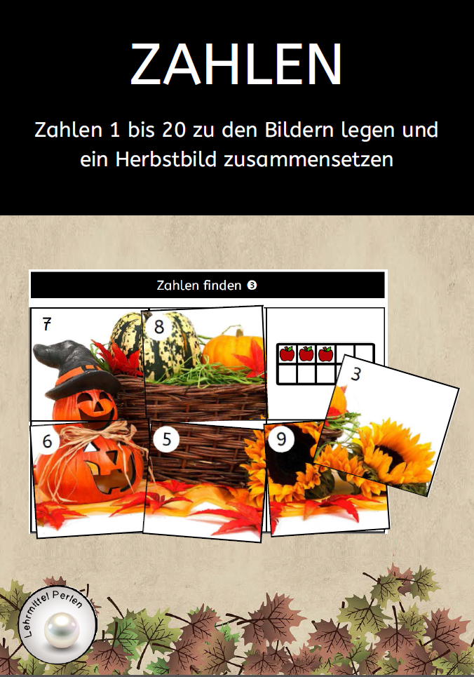 Herbst Puzzle Zahlen T